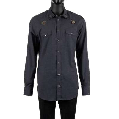 Bee Crown Embroidered Shirt Blue Gray