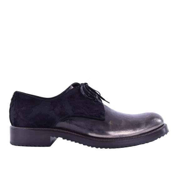 Stabile zweifarbige Derby Schuhe mit Brokat-Applikationen von DOLCE & GABBANA Black Label