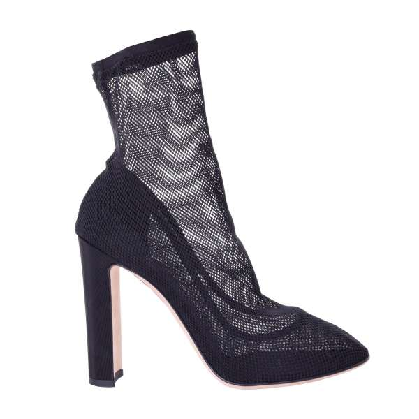 Stretch Net Lace Socks-Pumps / Boots in black by DOLCE & GABBANA Black Label