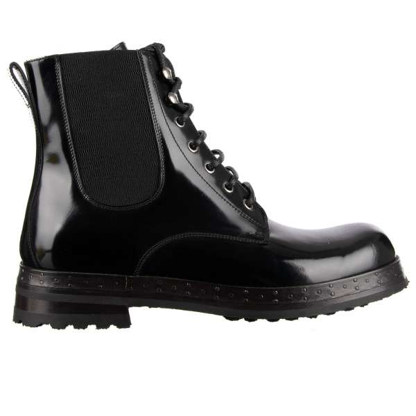 Military style Ankle Boots SAN PIETRO made of patent leather with elastic sides, lace up closure and stable nailed sole by DOLCE & GABBANA