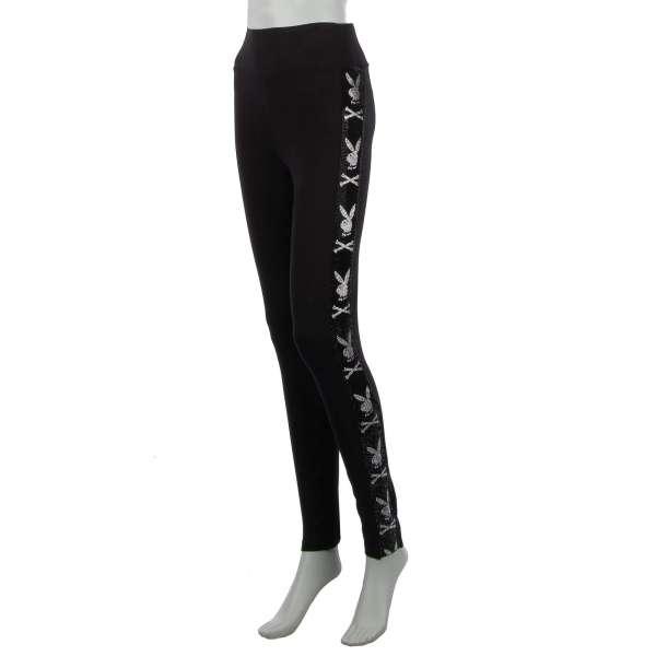Leggings Hose / Sporthose mit Playboy Plein Logo Streifen aus Strass an den Seiten und Strass Logo hinten von PHILIPP PLEIN x PLAYBOY