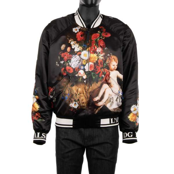 Baroque stuffed jacket with angel and flowers print in black by DOLCE & GABBANA