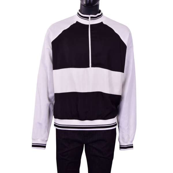 Linen and silk wide cut Sweater / Sweatshirt with zip fastening in white and black by DOLCE & GABBANA Black Line
