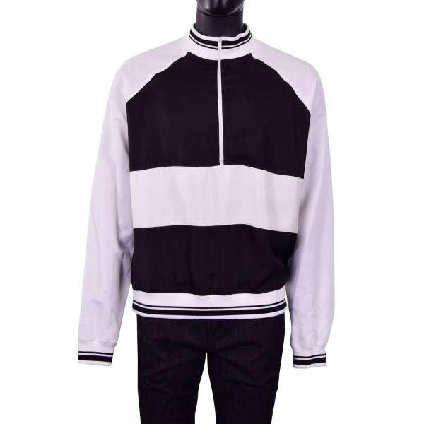Weit geschnittener Pullover / Sweatshirt aus Seide und Leinen mit Reißverschluss in Weiß und Schwarz von DOLCE & GABBANA Black Label