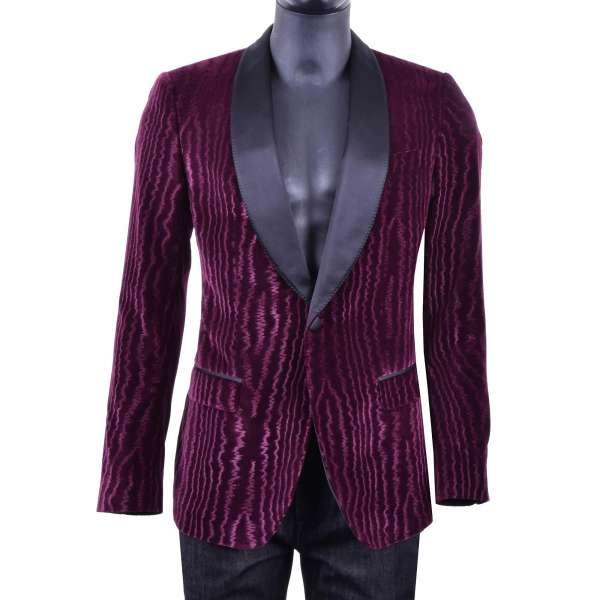 Moiré Bordeaux Velvet Tuxedo Jacket with silk collar in black by DOLCE & GABBANA Black Label