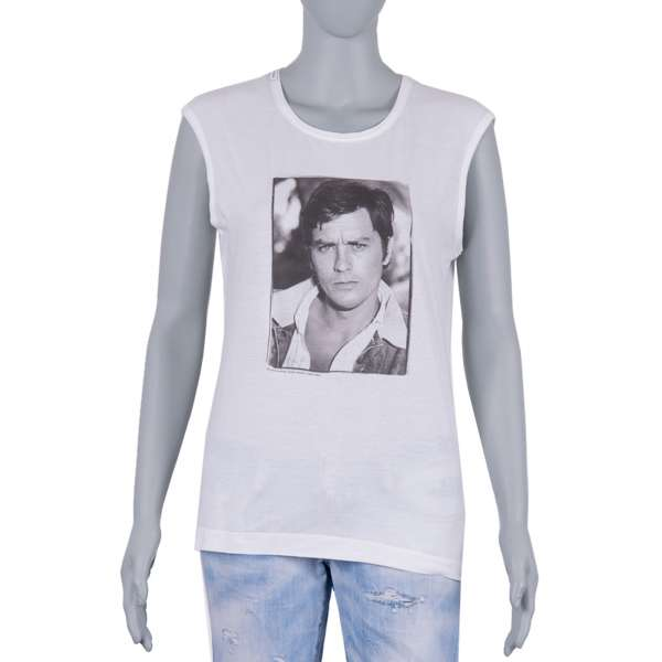 Icon Alain Delon Light Cotton T-Shirt in white and black by DOLCE & GABBANA Black Line