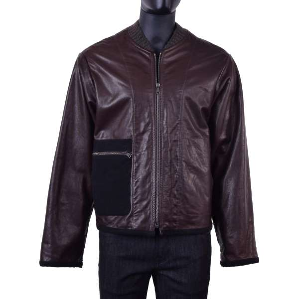 Stuffed bomber style lambskin jacket for Bodybuilder with knitted collar and placed outer pocket by DOLCE & GABBANA Black Line