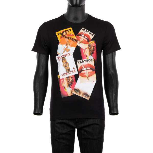 T-Shirt with a print of various PLAYBOY magazine covers of at the front and crystals embellished Playboy Skull Logo and PLEIN lettering printed at the back by PHILIPP PLEIN x PLAYBOY