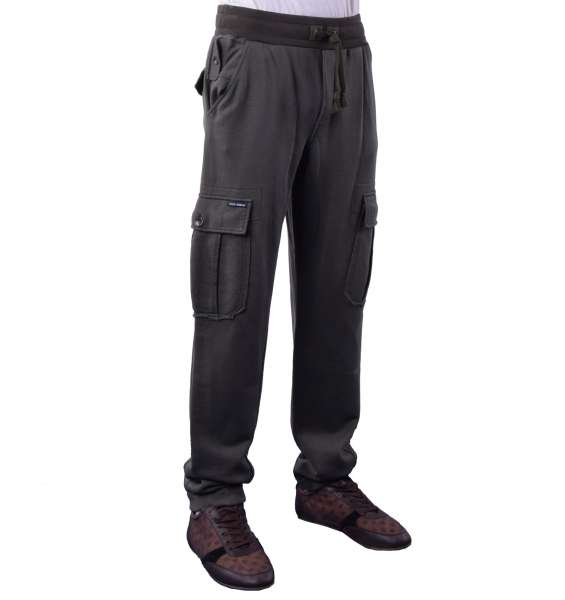 Military Style Gym / Sport Trousers with many pockets by DOLCE & GABBANA Black Line