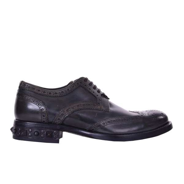 Brogues shoes with studded heel in khaki green mat leather by DOLCE & GABBANA Black Label