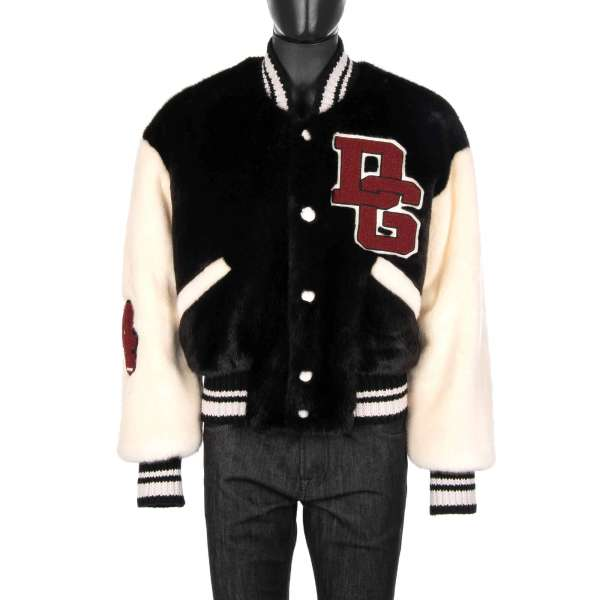 Stuffed Oversize Fake Fur bomber jacket with Royals Crown embroidery at the back and large DG Logo embroidery in front by DOLCE & GABBANA