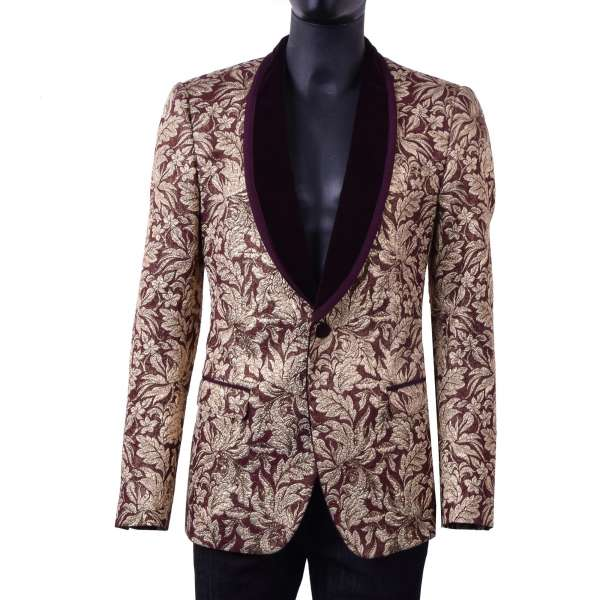 Baroque style jacquard tuxedo blazer with round velvet collar in gold and bordeaux colors by DOLCE & GABBANA Black Label