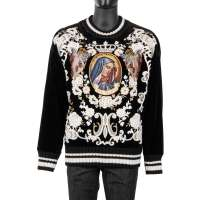 Velvet Sweater with Angels and Santa Maria Embroidery Black White