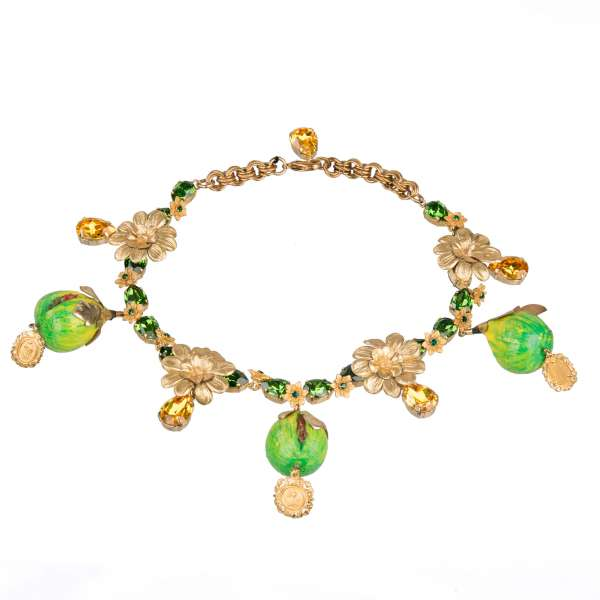 """""""Fico"""" Necklace with Figs, Madonna pendants, Flowers and Crystals in Gold by DOLCE & GABBANA"""