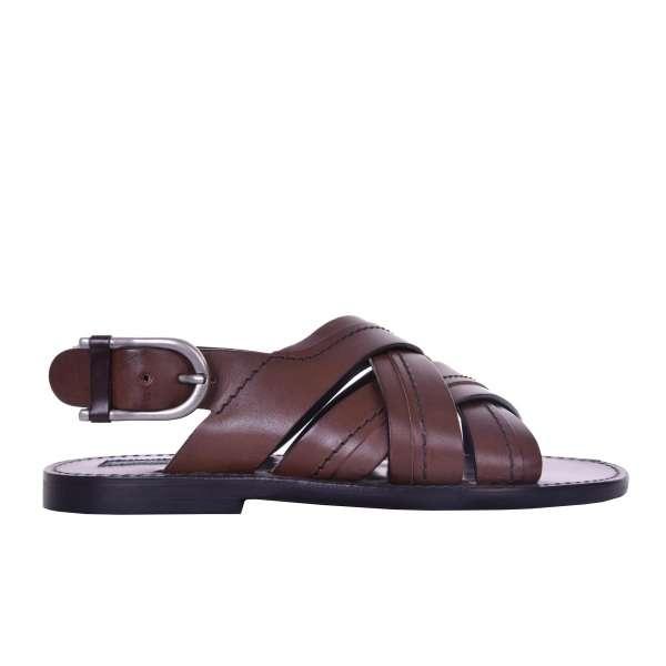Calfskin strap sandals VESUVIO with buckle by DOLCE & GABBANA Black Label