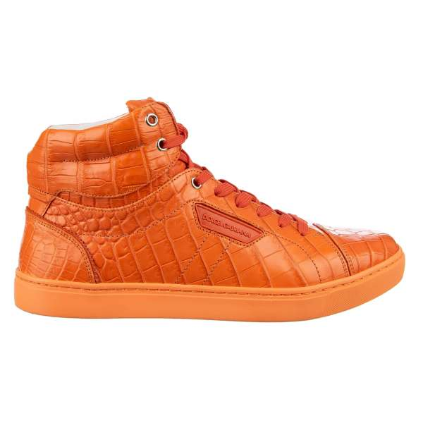 Crocodile Leather High-Top Sneaker LONDON with logo plaque by DOLCE & GABBANA