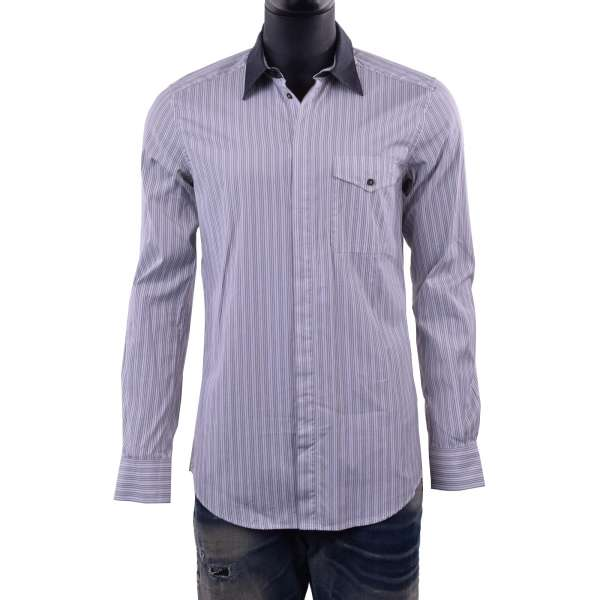 Striped printed shirt with front pocket and contrast collar in white / gray by DOLCE & GABBANA Black Label - SICILIA Line