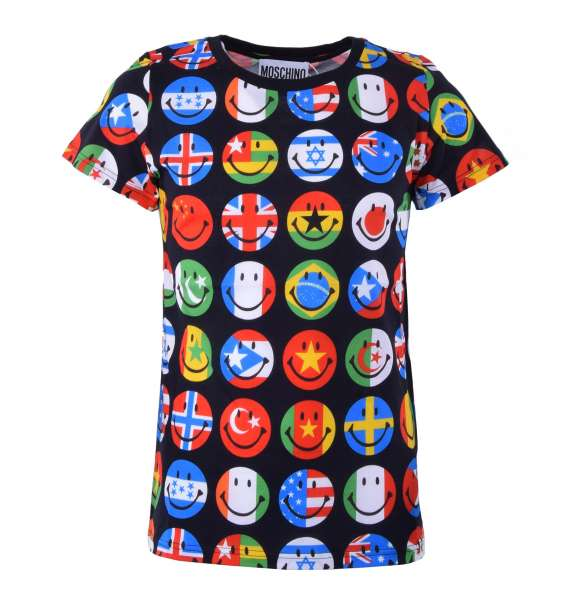 T-Shirt with smiley-flags print by MOSCHINO COUTURE