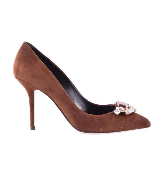 Suede Pumps BELLUCCI embellished with crystal brooch by DOLCE & GABBANA Black Label