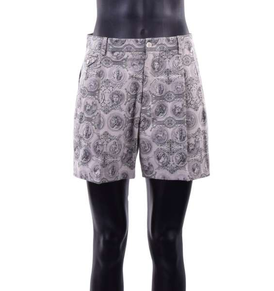 Roman Coins printed Shorts made of cotton and linen by DOLCE & GABBANA Black Line