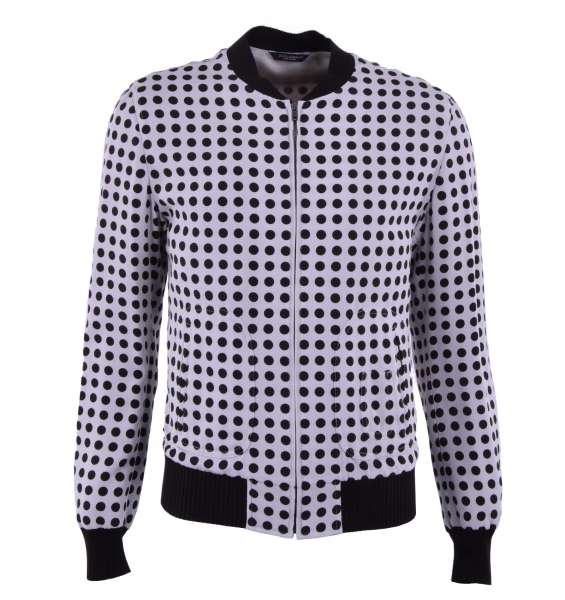 Polka Dot viscose jacket with jersey trim by DOLCE & GABBANA Black Line