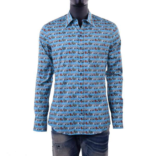 Cactus printed shirt with long collar by DOLCE & GABBANA Black Label - SICILIA Line