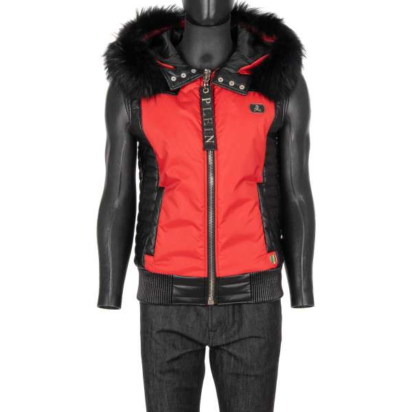 Nylon und Imitation Leather Vest HIT with detachable fur, hoody and logo plates by PHILIPP PLEIN