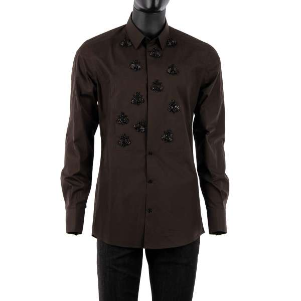 Tuxedo Cotton Shirt with short collar, hidden button closure and hand embroidered bees made of crystals and glass by DOLCE & GABBANA - GOLD Line