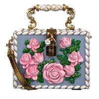 Roses Clutch DOLCE BOX Blue Gold