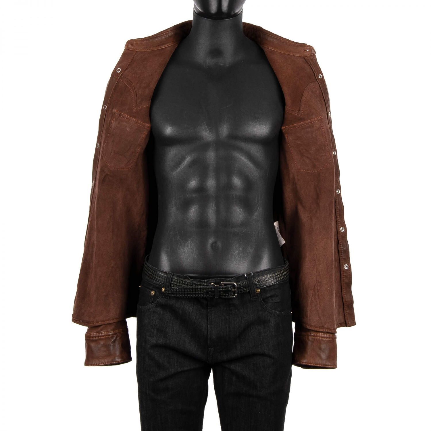 DOLCE /& GABBANA Sheep Leather Shirt Jacket with Pockets Brown S M 08893